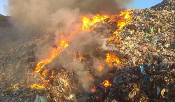 Incendiu la groapa de gunoi din Sighișoara