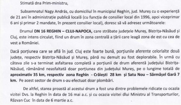 Scrisoarea lui Nagy András către prim-ministrul Viorica Dăncilă
