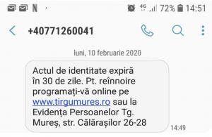 Notificare prin SMS atât la ridicarea actului de identitate cât şi la expirarea termenului de valabilitate
