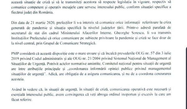 Marius Pașcan, președinte executiv PMP: Domnule prim-ministru Ludovic Orban, anulați ordinul care le interzice prefecților să comunice!
